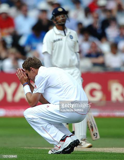 Stuart Broad of England shows his dismay as Rahul Dravid of India piles on the runs during the second npower Test match between England and India at...