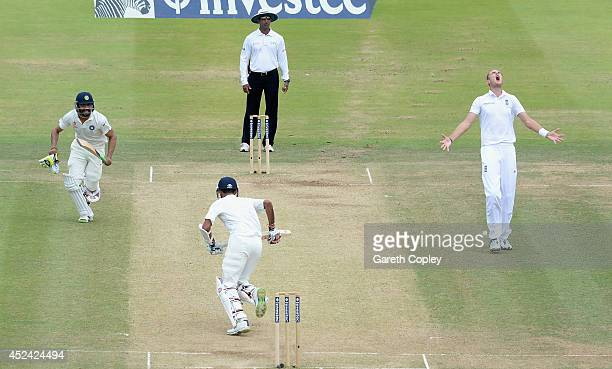 Stuart Broad of England shows his frustration as Ravindra Jadeja and Bhuvneshwar Kumar of India score runs during day four of 2nd Investec Test match...