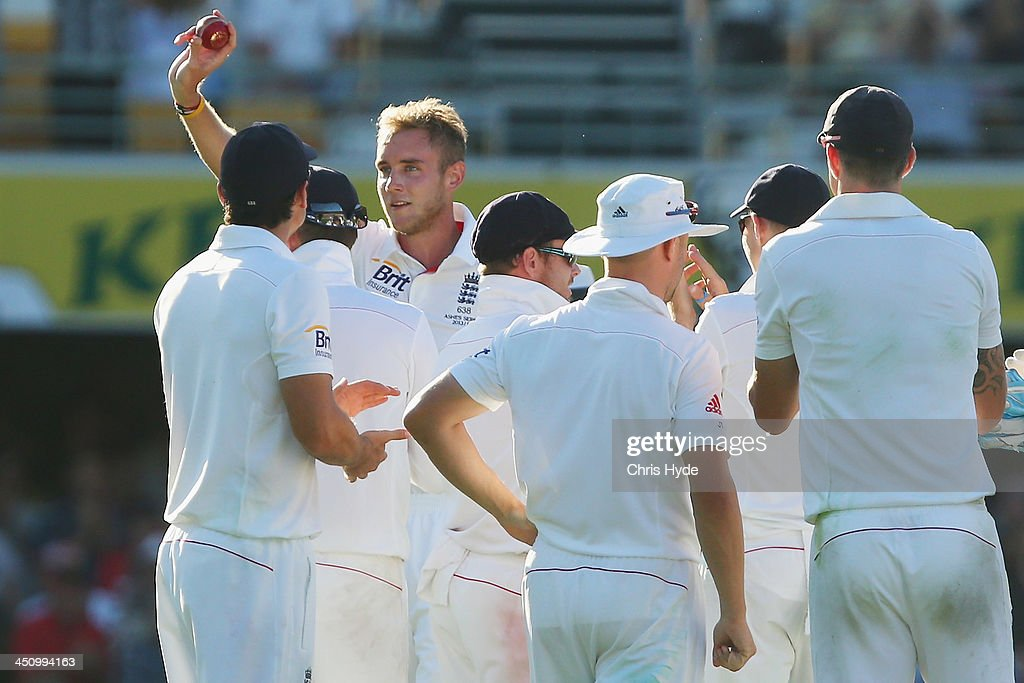 Stuart Broad of England shows the ball to the crowd after dismissing Mitchell Johnson of Australia during day one of the First Ashes Test match between Australia and England at The Gabba on November 21, 2013 in Brisbane, Australia.