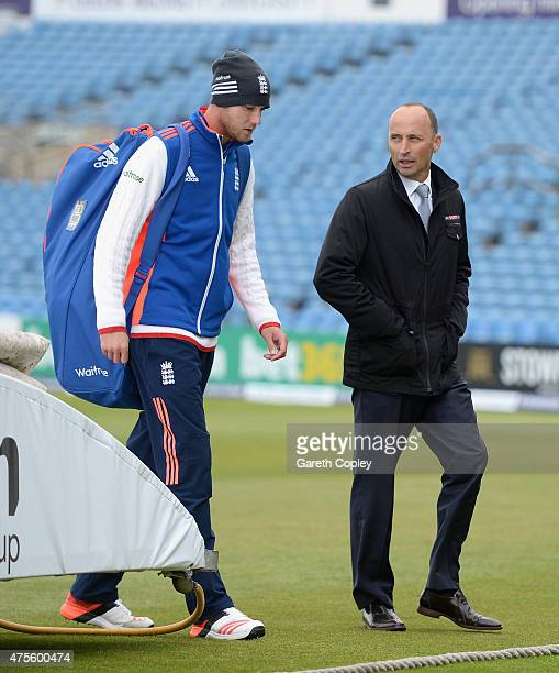 Stuart Broad of England speaks with Sky Sports commentator Nasser Hussain ahead of day five of 2nd Investec Test match between England and New...