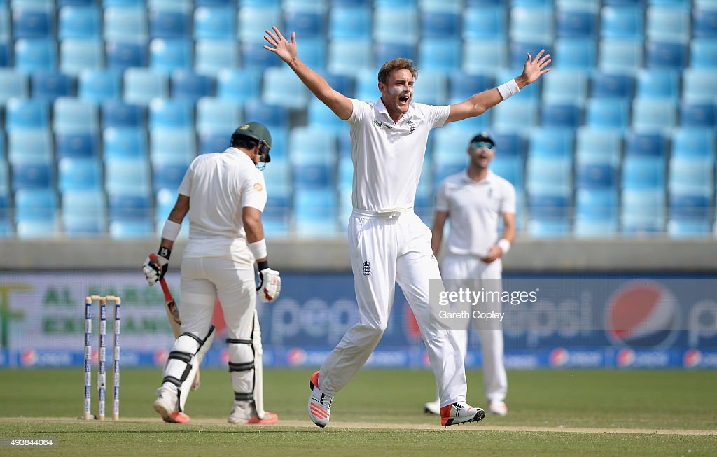 <a gi-track='captionPersonalityLinkClicked' href=/galleries/search?phrase=Stuart+Broad&family=editorial&specificpeople=574360 ng-click='$event.stopPropagation()'>Stuart Broad</a> of England successfully appeals for the wicket of Pakistan captain <a gi-track='captionPersonalityLinkClicked' href=/galleries/search?phrase=Misbah-ul-Haq&family=editorial&specificpeople=2180557 ng-click='$event.stopPropagation()'>Misbah-ul-Haq</a> during day two of the 2nd test match between Pakistan and England at Dubai Cricket Stadium on October 23, 2015 in Dubai, United Arab Emirates.
