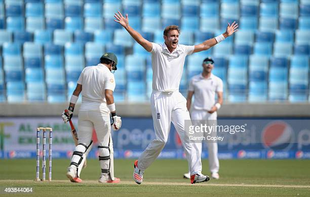 Stuart Broad of England successfully appeals for the wicket of Pakistan captain MisbahulHaq during day two of the 2nd test match between Pakistan and...