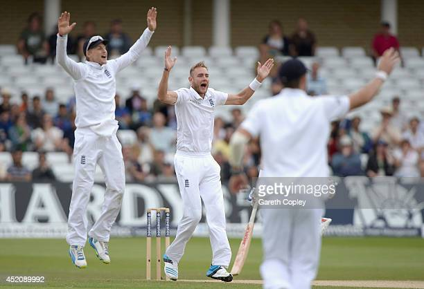 Stuart Broad of England successfully appeals for the wicket Virat Kohli of India during day five of 1st Investec Test match between England and India...