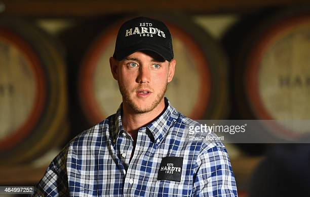 Stuart Broad of England talks to the media during a visit to Hardys wine on March 3 2015 in Adelaide Australia