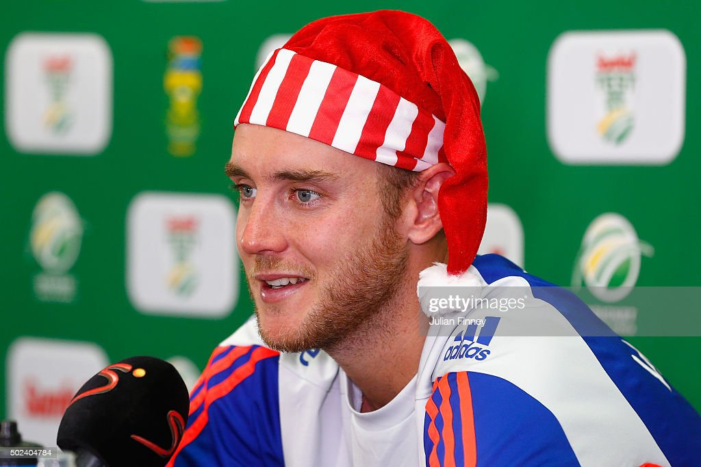 <a gi-track='captionPersonalityLinkClicked' href=/galleries/search?phrase=Stuart+Broad&family=editorial&specificpeople=574360 ng-click='$event.stopPropagation()'>Stuart Broad</a> of England talks to the media during England nets and training session at Sahara Stadium Kingsmead on December 24, 2015 in Durban, South Africa.