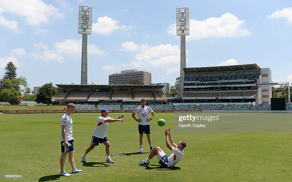 <a gi-track='captionPersonalityLinkClicked' href=/galleries/search?phrase=Stuart+Broad&family=editorial&specificpeople=574360 ng-click='$event.stopPropagation()'>Stuart Broad</a> of England trains with fitness coach Huw Bevan as <a gi-track='captionPersonalityLinkClicked' href=/galleries/search?phrase=Ben+Stokes&family=editorial&specificpeople=6688979 ng-click='$event.stopPropagation()'>Ben Stokes</a> and Boyd Rankin look on during a training session at WACA on October 26, 2013 in Perth, Australia.