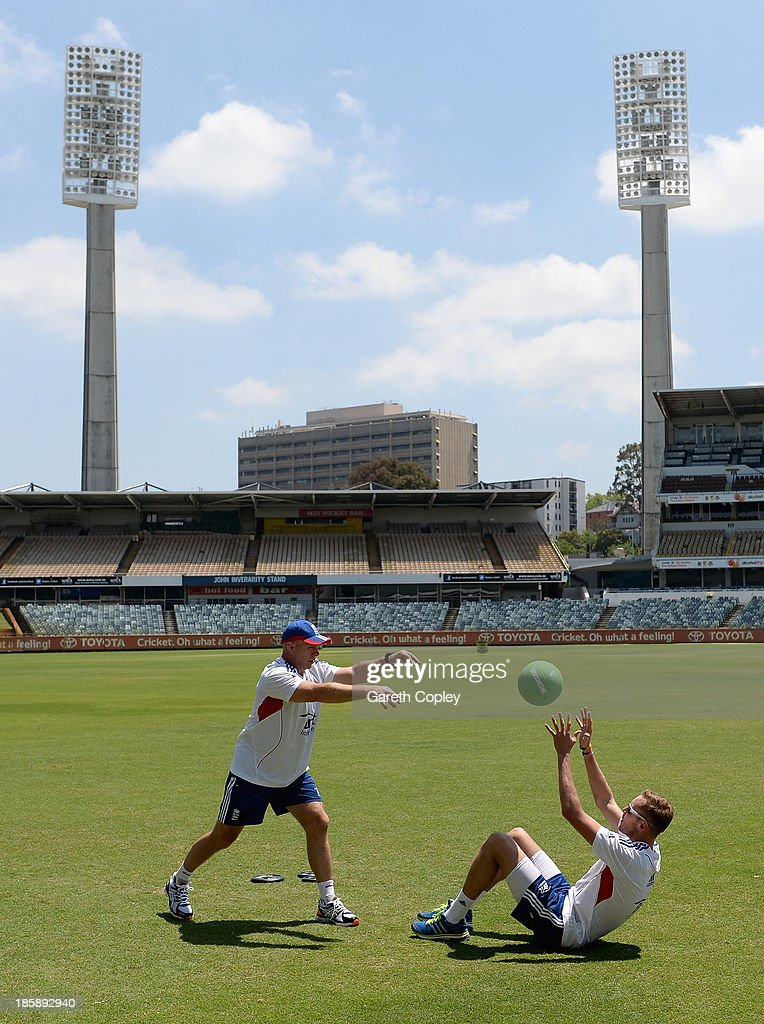 <a gi-track='captionPersonalityLinkClicked' href=/galleries/search?phrase=Stuart+Broad&family=editorial&specificpeople=574360 ng-click='$event.stopPropagation()'>Stuart Broad</a> of England trains with fitness coach Huw Bevan during a training session at WACA on October 26, 2013 in Perth, Australia.