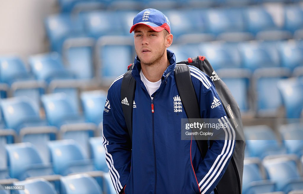 Stuart Broad of England walks from the indoor school after a nets session at Headingley on May 23, 2013 in Leeds, England.
