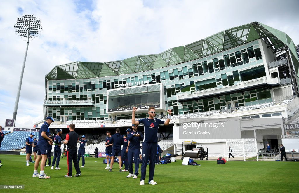 Stuart Broad of England warms up during a nets session at Headingley on August 23, 2017 in Leeds, England.