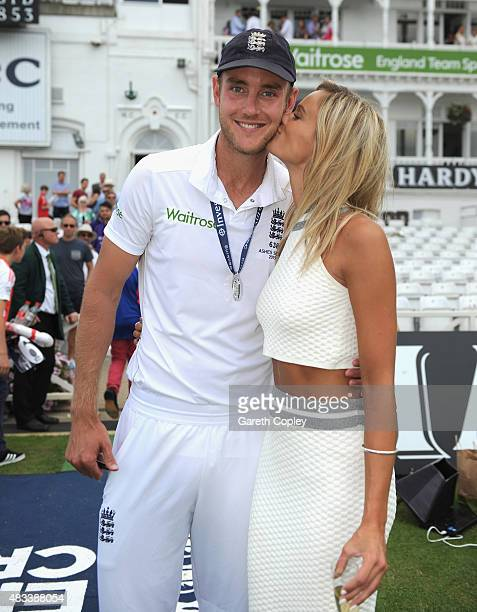 Stuart Broad of England with girlfriend Bealey Mitchell after winning the 4th Investec Ashes Test match between England and Australia at Trent Bridge...