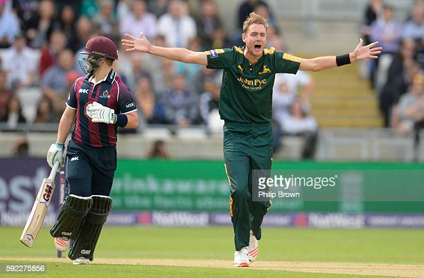 Stuart Broad of Nottinghamshire appeals against Ben Duckett of Northamptonshire during the Natwest T20 Blast match between Northamptonshire and...