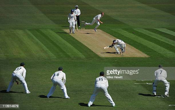 Stuart Broad of Nottinghamshire bowls a bouncer to Ed Joyce of Sussex during the LV County Championship match between Sussex and Nottinghamshire on...