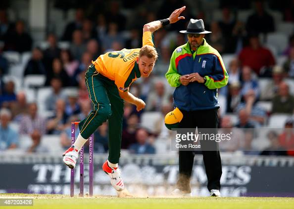 Stuart Broad of Nottinghamshire bowls a delivery during the Royal London OneDay Cup Semi Final between Surrey and Nottinghamshire at The Kia Oval on...