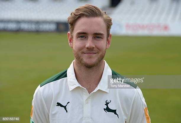 Stuart Broad of Nottinghamshire CCC poses for a photograph during the Nottinghamshire CCC Photocall at Trent Bridge on April 8 2016 in Nottingham...