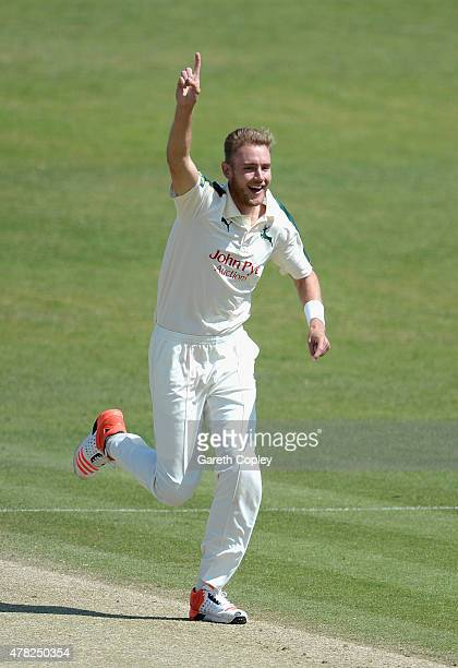 Stuart Broad of Nottinghamshire celebrates dismissing Andrew Gale of Yorkshire during day three of the LV County Championship Division One match...