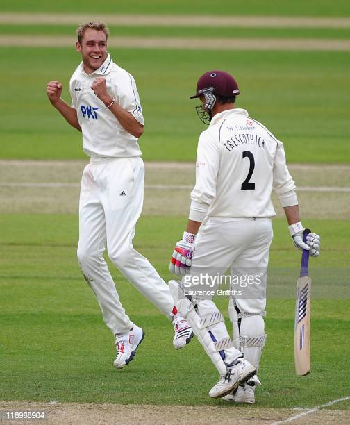 Stuart Broad of Nottinghamshire celebrates the wicket of Marcus Trescothick of Somerset during the LV County Championship match between Somerset and...