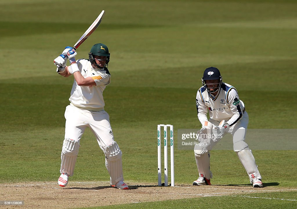 <a gi-track='captionPersonalityLinkClicked' href=/galleries/search?phrase=Stuart+Broad&family=editorial&specificpeople=574360 ng-click='$event.stopPropagation()'>Stuart Broad</a> of Nottinghamshire steers the ball for four runs during the Specsavers County Championship division one match between Nottinghamshire and Yorkshire at Trent Bridge on May 4, 2016 in Nottingham, England.