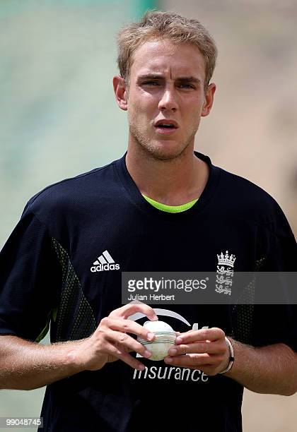 Stuart Broad of the England World Twenty20 team takes part in a nets session at the Beausejour Cricket Ground on May 12 2010 in Gros Islet Saint Lucia