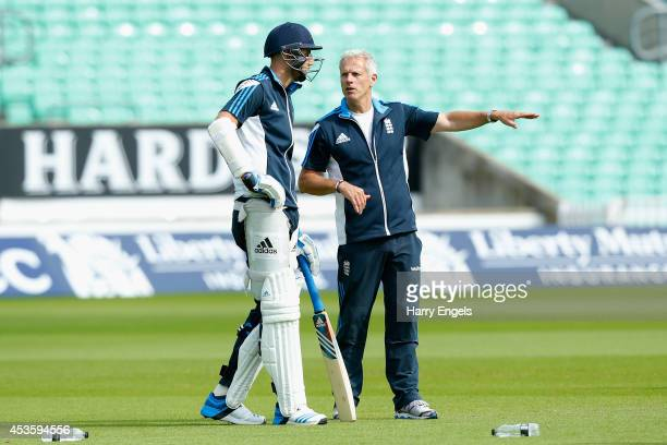 Stuart Broad speaks to England team coach Peter Moores during an England Nets Session at The Kia Oval on August 14 2014 in London England
