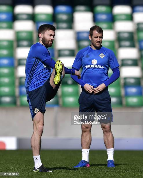 Stuart Dallas and Niall McGinn during the Northern Ireland international football squad training session at Windsor Park on March 25 2017 in Belfast...