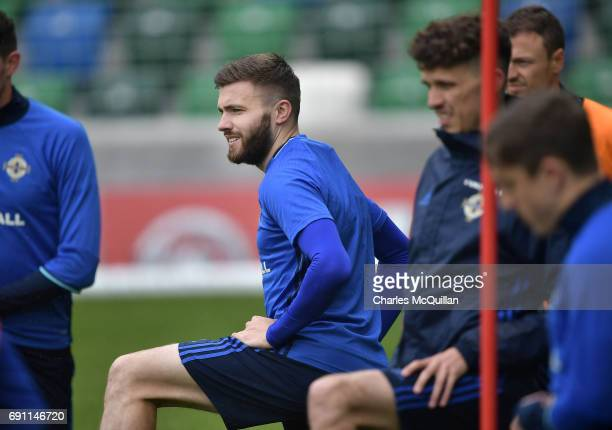 Stuart Dallas is pictured as the Northern Ireland football squad train at Windsor Park on June 1 2017 in Belfast Northern Ireland New Zealand are the...
