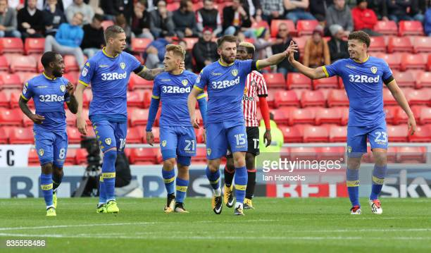Stuart Dallas of Leeds celebrates scoring the second goal during the Sky Bet Championship match between Sunderland and Leeds United at Stadium of...