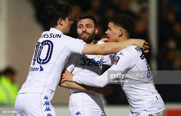 Stuart Dallas of Leeds United celebrates with Marcus Antonsson and Kalvin Phillips as he scores ther first and equalising goal during the Emirates FA...
