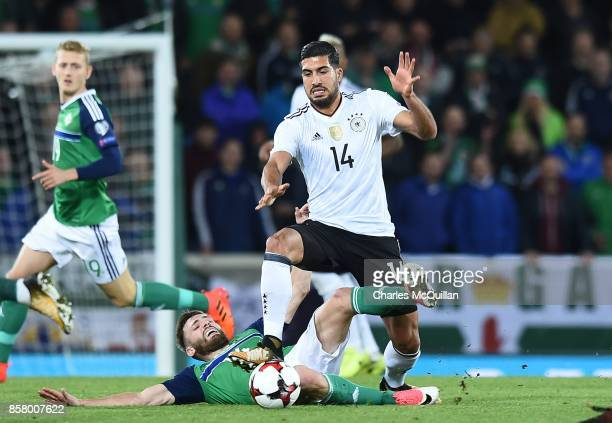 Stuart Dallas of Northern Ireland and Emre Can of Germany during the FIFA 2018 World Cup Qualifier between Northern Ireland and Germany at Windsor...