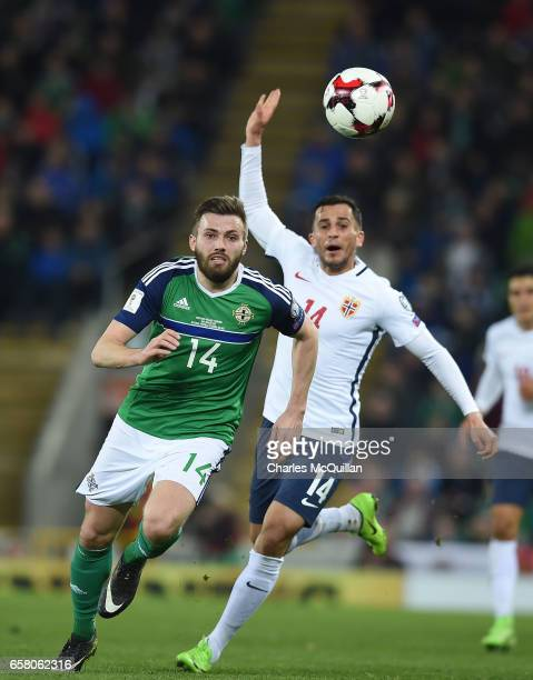 Stuart Dallas of Northern Ireland and Omar Elabdellaoui of Norway during the FIFA 2018 World Cup Qualifier between Northern Ireland and Norway at...