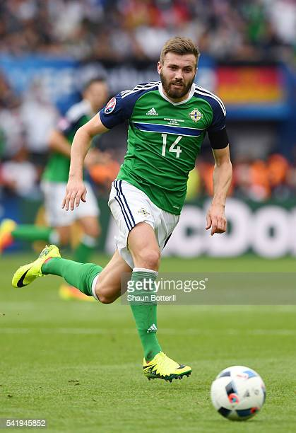 Stuart Dallas of Northern Ireland in action during the UEFA EURO 2016 Group C match between Northern Ireland and Germany at Parc des Princes on June...