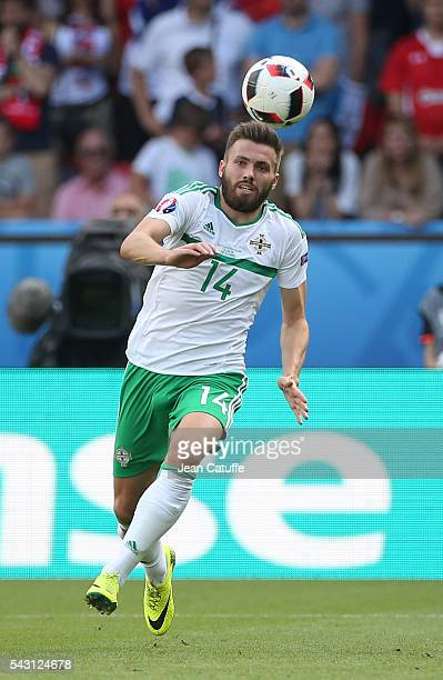 Stuart Dallas of Northern Ireland in action during the UEFA EURO 2016 round of 16 match between Wales and Northern Ireland at Parc des Princes on...