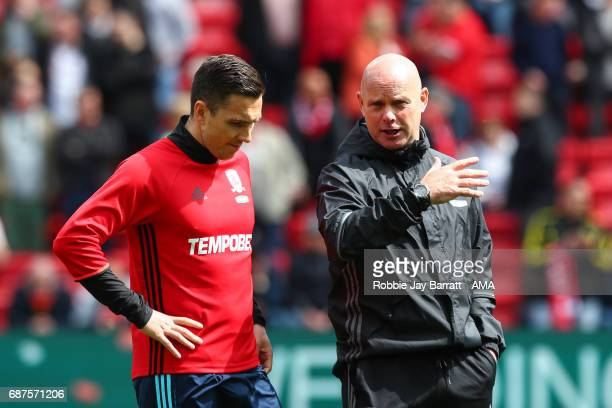 Stuart Downing of Middlesbrough and Steve Agnew caretaker manager / head coach of Middlesbrough during the Premier League match between Liverpool and...