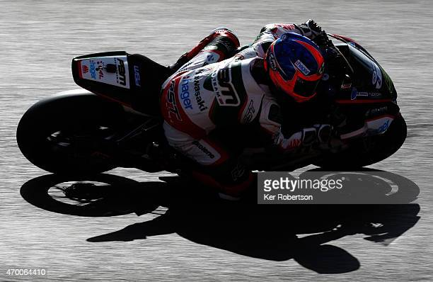Stuart Easton of Great Britain and PBM Kawasaki rides during practice for the MCE British Superbike Championship race at Brands Hatch circuit on...
