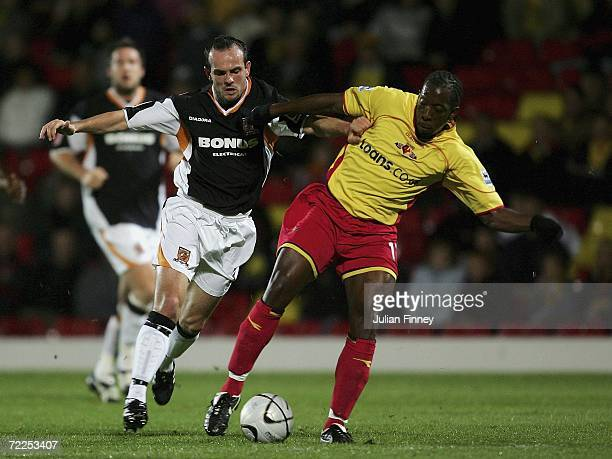 Stuart Elliott of Hull battles with Lloyd Doyley of Watford during the Carling Cup match between Watford and Hull City at Vicarage Road on October 24...