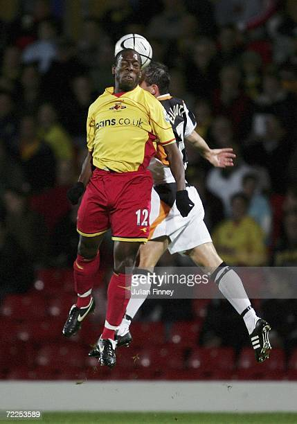 Stuart Elliott of Hull challenges in the air with Lloyd Doyley of Watford during the Carling Cup match between Watford and Hull City at Vicarage Road...