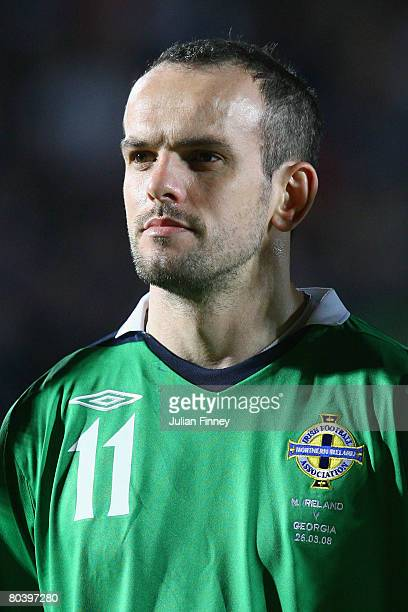 Stuart Elliott of Northern Ireland looks on before the International Friendly match between Northern Ireland and Georgia at Windsor Park on March 26...