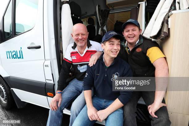 Stuart Findlay and his son Charles Findlay of Cambridge pick up their Maui Camper with friend Jacob Irwin of Northern Ireland for the British and...