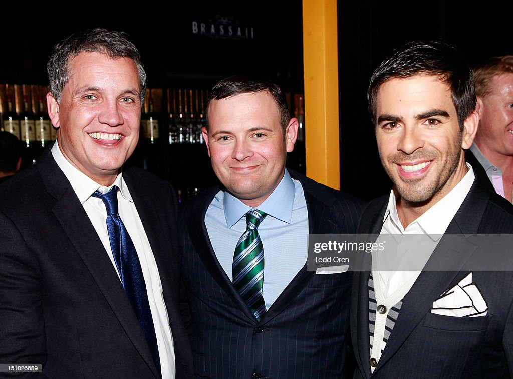 Stuart Ford, Christopher Woodrow and <a gi-track='captionPersonalityLinkClicked' href=/galleries/search?phrase=Eli+Roth&family=editorial&specificpeople=543948 ng-click='$event.stopPropagation()'>Eli Roth</a> attend the Worldview Entertainment Cocktail Party and Dinner at Brassaii Restaurant and Lounge during the 2012 Toronto International Film Festival at Brassaii on September 11, 2012 in Toronto, Canada.