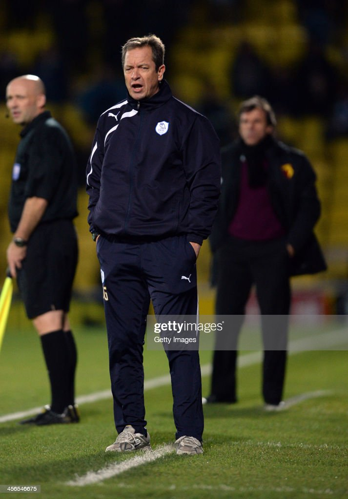 Stuart Gray, caretaker manager of Sheffield Wednesday reacts during the the Sky Bet Championship match between Watford and Sheffield Wednesday at Vicarage Road on December 14, 2013 in Watford, England,