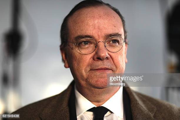 Stuart Gulliver chief executive officer of HSBC Holdings Plc pauses during a Bloomberg Television interview at the World Economic Forum in Davos...