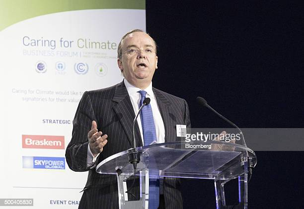 Stuart Gulliver chief executive officer of HSBC Holdings Plc speaks during the caring for the climate summit at the United Nations COP21 climate...