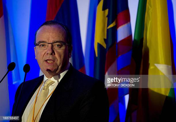 Stuart Gulliver group chief executive of banking giant HSBC speaks at the Association of Southeast Asian Nations finance ministers investors seminar...