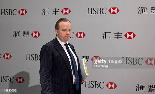 Stuart Gulliver group chief executive officer of HSBC Holdings Plc arrives to attend a news conference in Hong Kong China on Monday May 21 2012 HSBC...