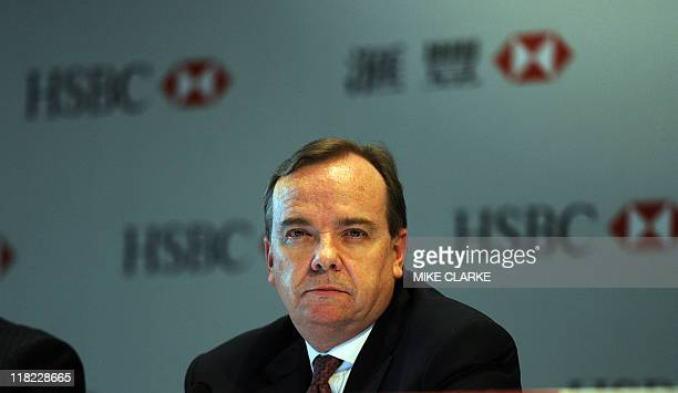 Stuart Gulliver HSBC Group CEO speaks to the press in Hong Kong on May 19 2011 The management team were speaking to the media after an informal...