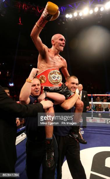 Stuart Hall celebrates beating South African Vusi Malinga during their IBF Bantamweight title fight at the First Direct Arena Leeds