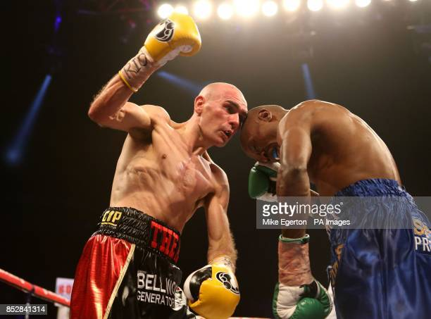 Stuart Hall in action against South African Vusi Malinga during their IBF Bantamweight title fight at the First Direct Arena Leeds