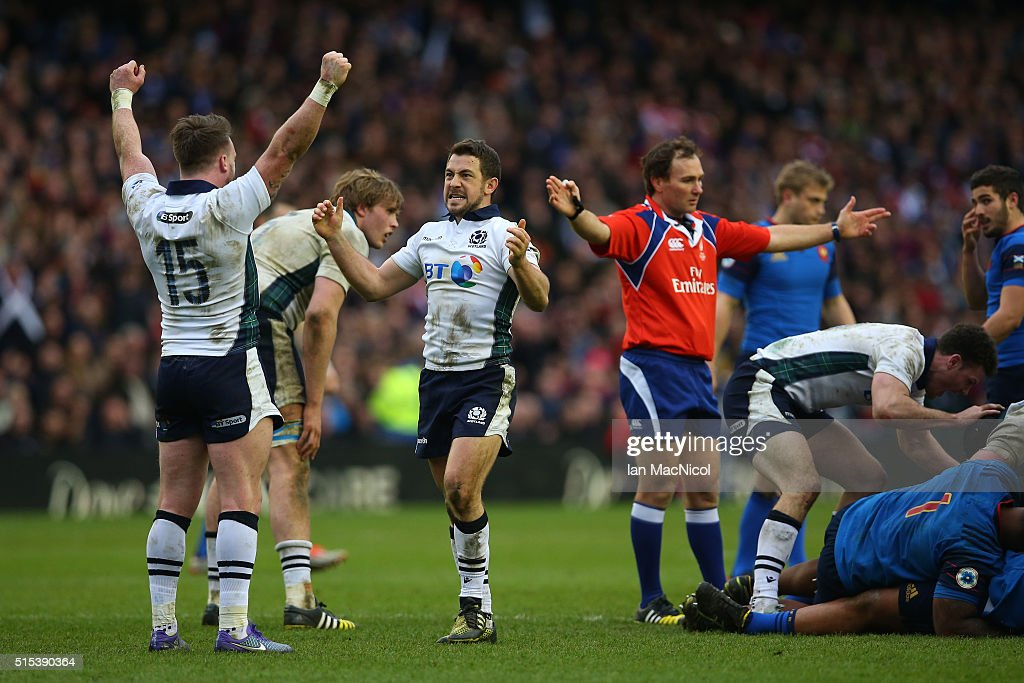 Stuart Hogg and Greig Laidlaw of Scotland celebrates victory as the final whistle blows during the RBS Six Nations match between Scotland and France at Murrayfield Stadium on March 13, 2016 in Edinburgh, Scotland.