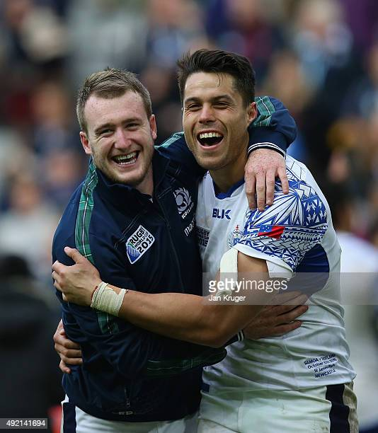 Stuart Hogg and Sean Maitland of Scotland celebrate after the 2015 Rugby World Cup Pool B match between Samoa and Scotland at St James' Park on...