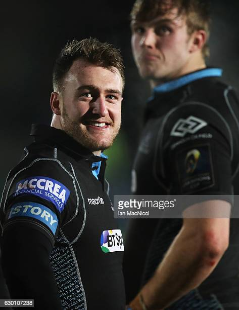 Stuart Hogg of Glasgow looks on during the European Rugby Champions Cup match between Glasgow Warriors and Racing 92 at Scotstoun stadium on December...