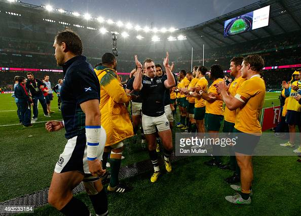 Stuart Hogg of Scotland applauds the fans as he leaves the field after the 2015 Rugby World Cup Quarter Final match between Australia and Scotland at...